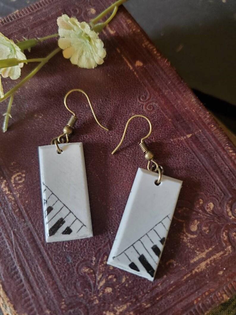 Scrimshaw Earring Set Lovely Piano Keys Design OOAK Great Gift Idea