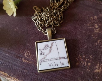 Scrimshaw Necklace Intricate Vintage Map Design OOAK Great Gift Idea