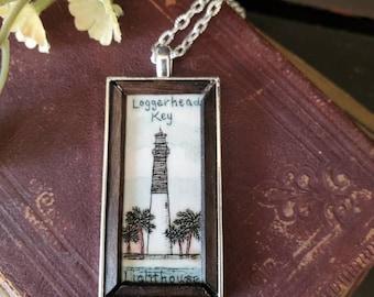 Scrimshaw Necklace Intricate Loggerhead Key Lighthouse FL OOAK Great Gift Idea