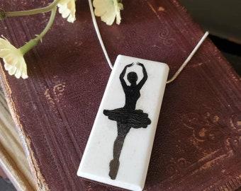 Scrimshaw Necklace Beautiful Ballerina Silhouette OOAK Great Gift Idea
