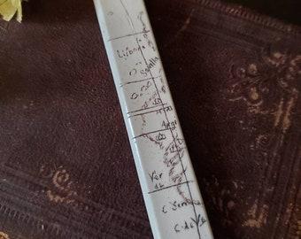 Scrimshaw Bookmark Intricate Vintage Map Design OOAK Great Gift Idea