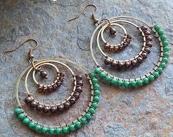 Beaded Hoop earrings - big wire wrapped statement hoops in green and dark bronze - statement earrings - boho style gypsy earrings