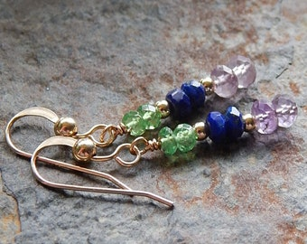 Dainty gemstone earrings - faceted amethyst, lapis lazuli, and peridot dangle earrings - gold fill - purple blue and green - multicolor gems