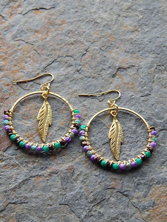 Tassel Earrings Boho Style Gift Gift For Her Gypsy Earrings Feather Earrings Hippie Jewelry Boho Earrings Free Spirited Boho Jewelry