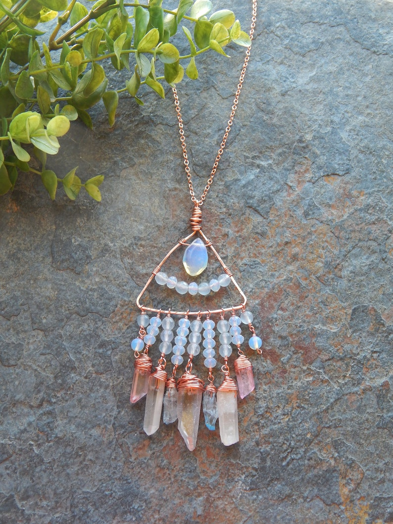 Shiny copper and quartz wire wrapped triangle pendant Rough crystal point statement necklace boho style opalite festival necklace