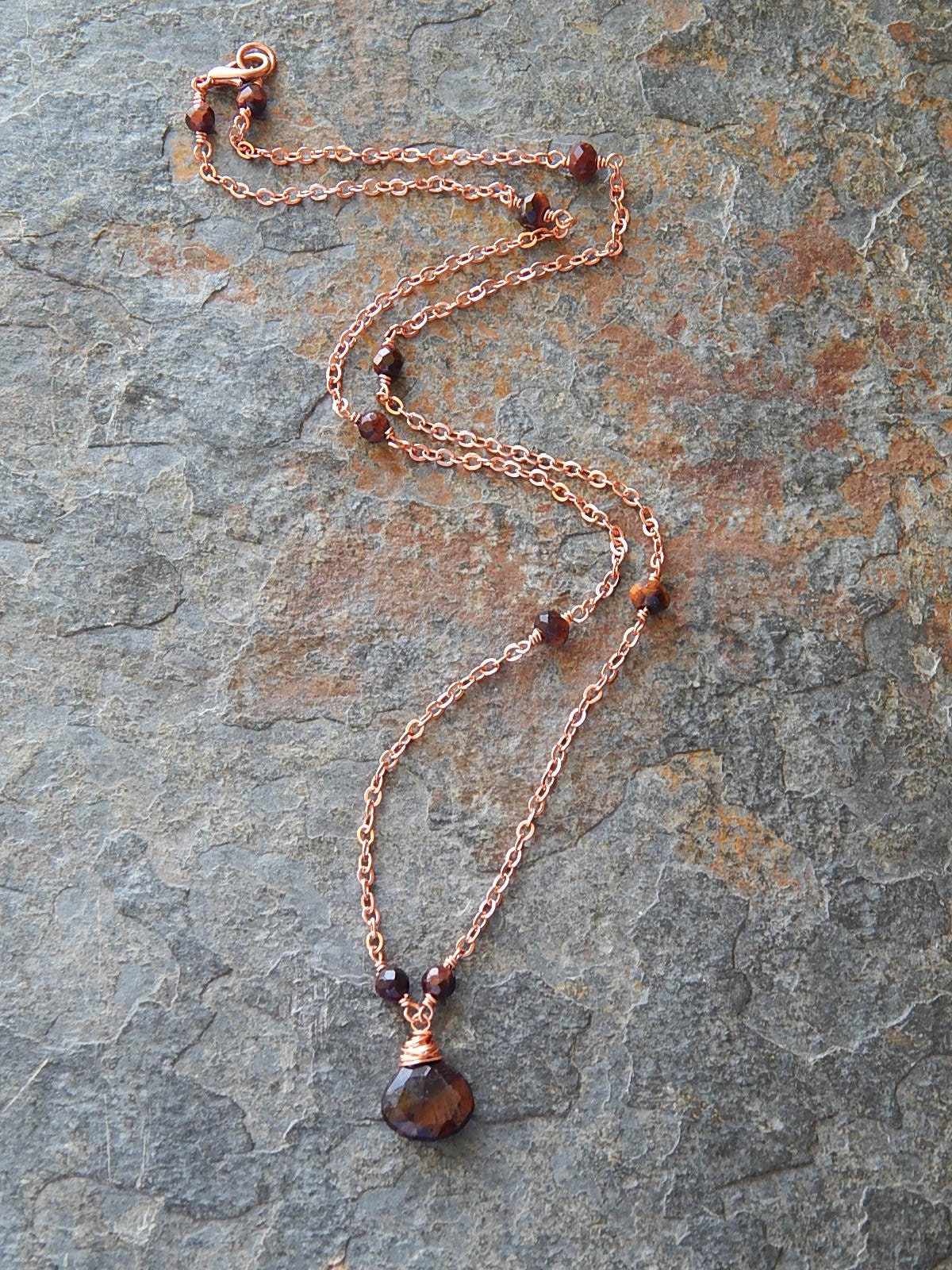 Copper Electroformed Red Tigers Eye Fire Element Symbol Pendant Necklace