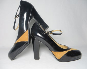 6026e802f6e Vintage 70s Mary Jane Platform Heels Black and Tan Deadstock High Heel Shoes  9