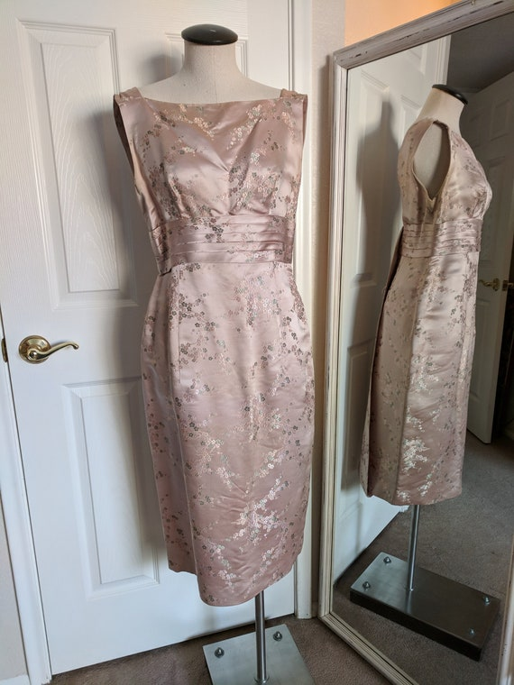 Vintage 1950s Dusty Pink Asian Style Cocktail Dres