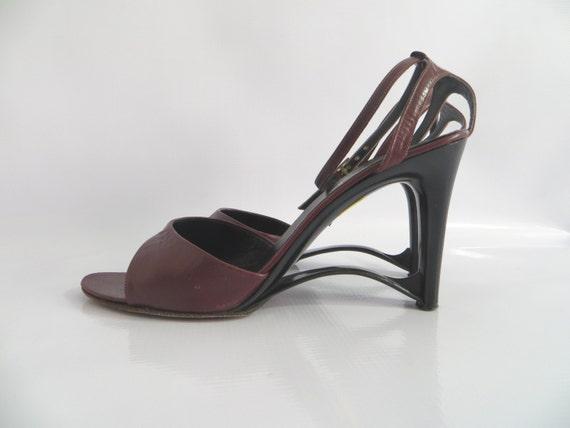 Vintage 60s Andrew Geller Heels Burgundy Leather M
