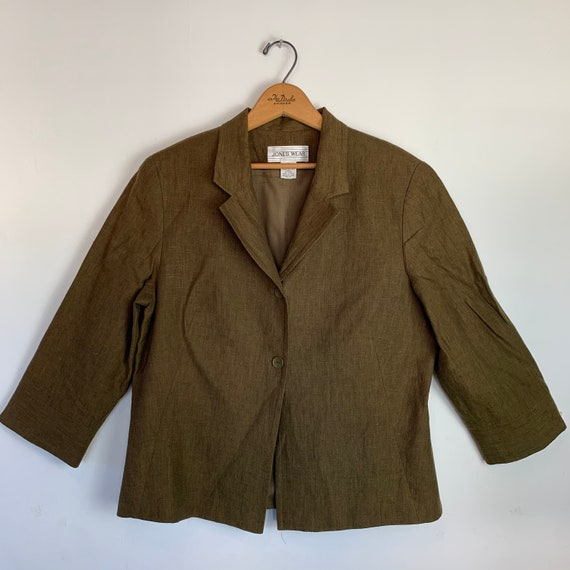 Olive Army Green Linen Pant Suit Pleated Trousers… - image 3