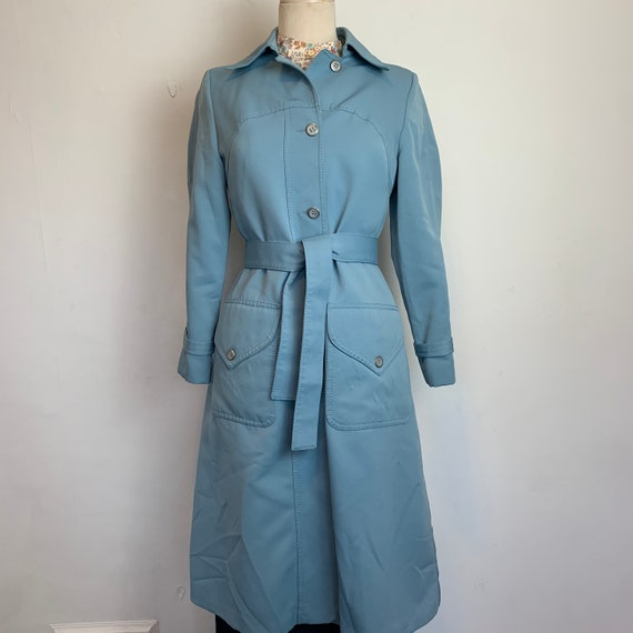 Retro Robins Egg Blue Trench Rain Coat FREE SHIPPI