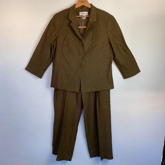 Olive Army Green Linen Pant Suit Pleated Trousers… - image 1