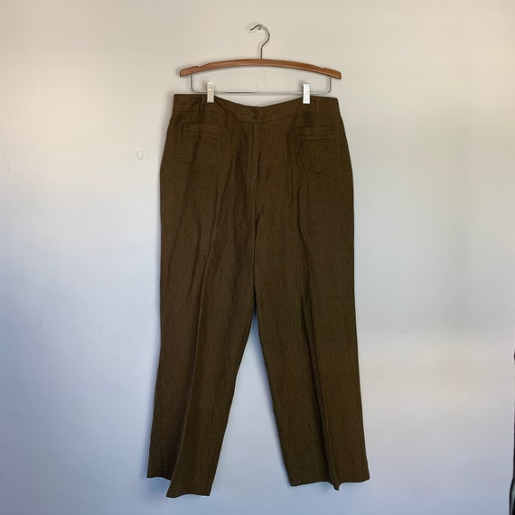 Olive Army Green Linen Pant Suit Pleated Trousers… - image 2