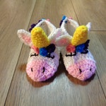 RESERVED - Crochet Unicorn Slippers for Child's Size 8-9