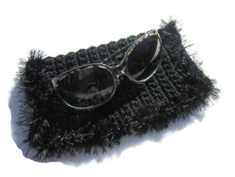 Black Sunglass Case or Glasses Case Crocheted Black with Fur image 0