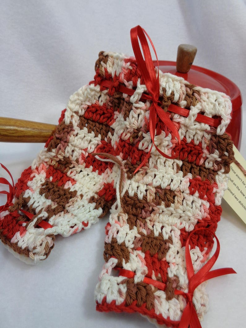 Crochet  Dish Cloth Britches in Brown Red and White Bridal image 0