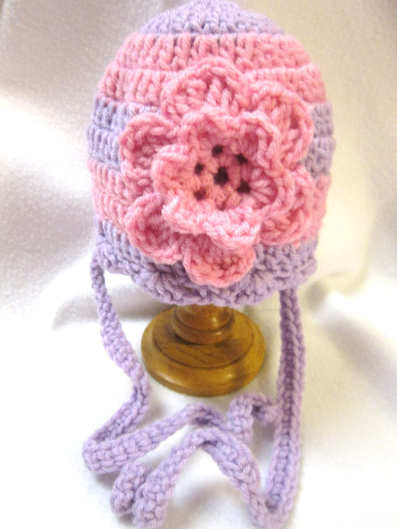 Baby Girl Crochet Purple and Pink Hat with Flower Cap with image 0