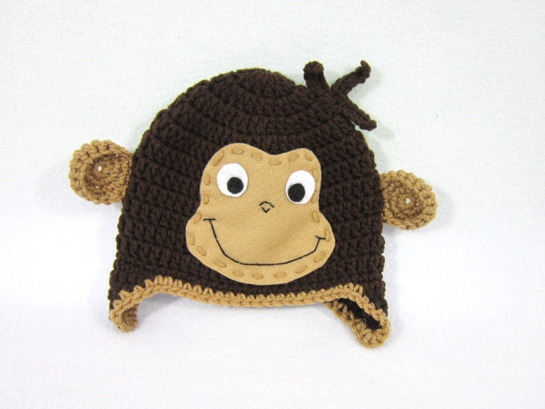 Crochet Baby Beanie with Ears and Face MADE TO ORDER by Charlene Brown Earflap Hat Curious George Hat Brown Monkey Hat Gift for Baby