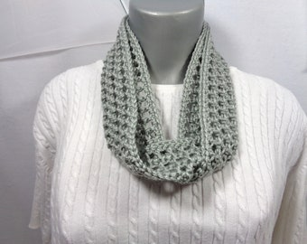 Gray Scarf, Thin Infinity Scarf, Lightweight Indoor or Outdoor Perfect for Fall, Winter or Spring with Soft Yarn, MADE TO ORDER