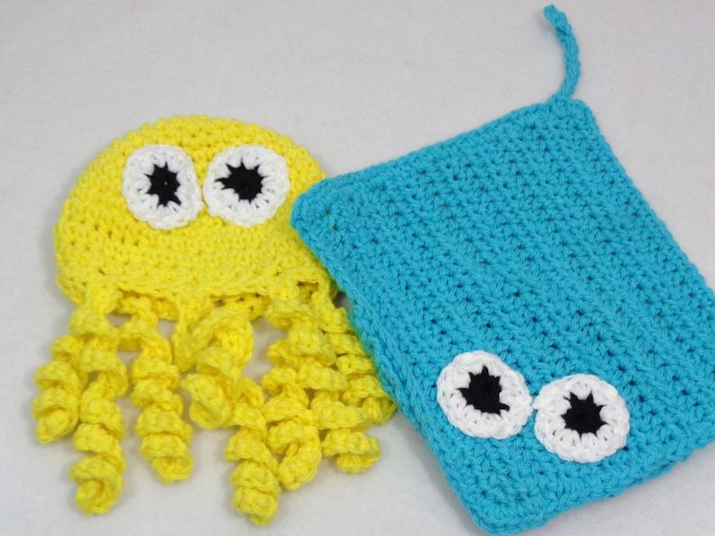Octopus and Stingray Cotton Washcloths Kids Birthday Gift image 0