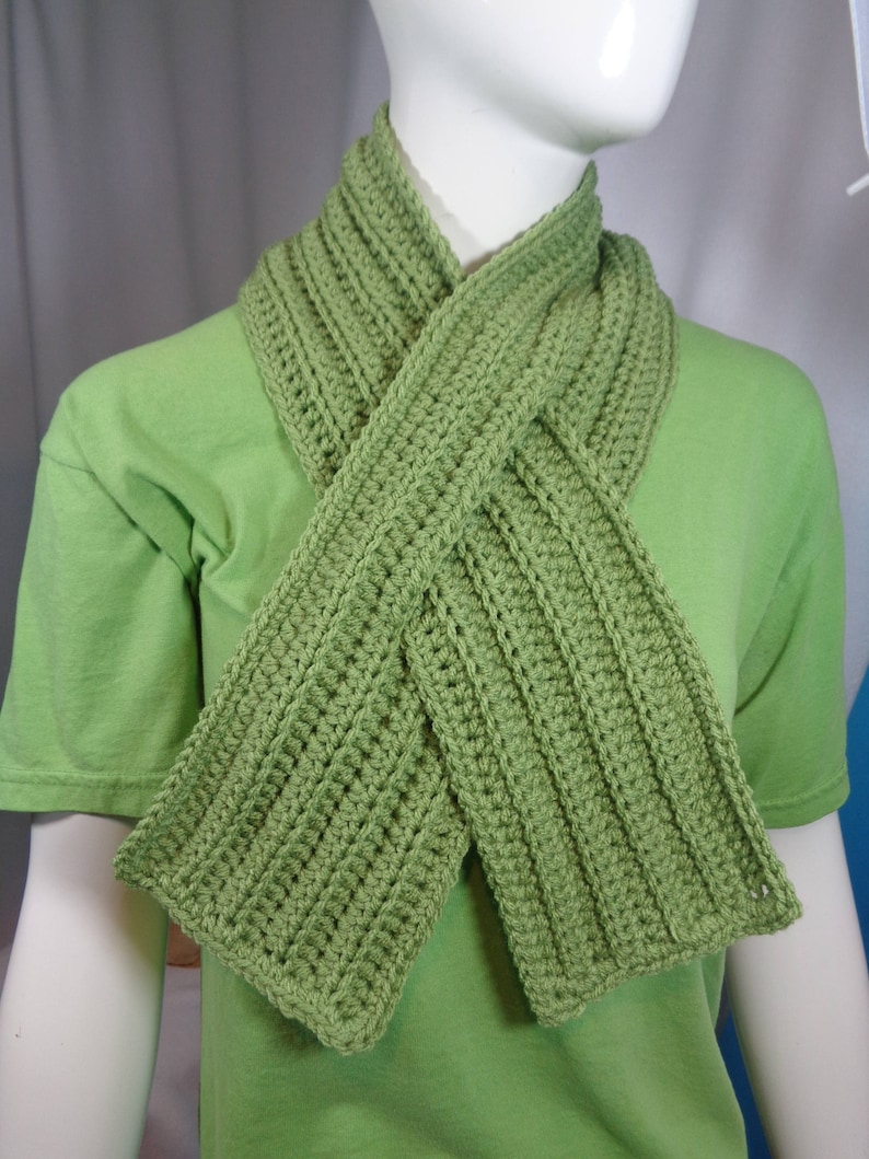 Green Ribbed Neckwarmer  Unisex with Slit Christmas Gift for image 0