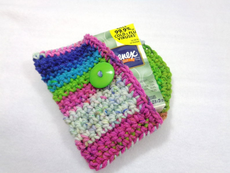 Crochet Purse Pouch Colorful Business Card Holder Tissue image 0