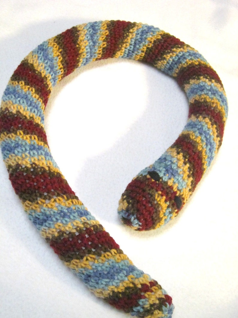 Crochet Snake Toy Door Draft Stopper Multicolor Striped Snake image 0