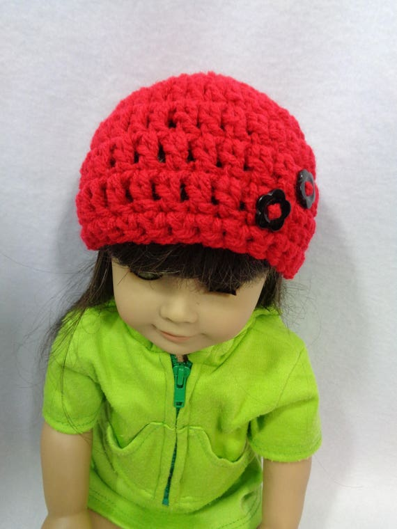 18 Inch Doll Hat Red or Black Valentine s Day Beanie for  75906e93a182