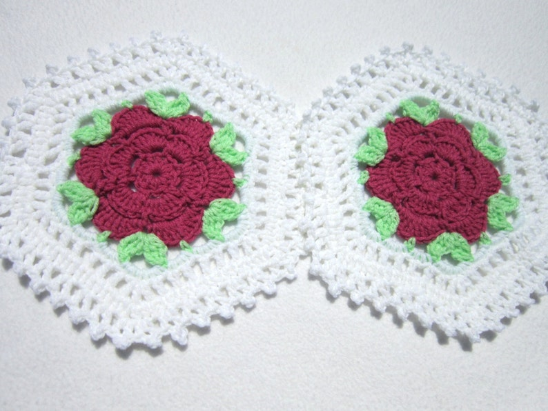 Rose Doilies Set of Two Crochet Crocheted Table Decor White image 0