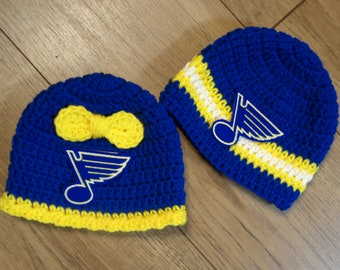 St. Louis Blue Hockey Baby Girl or Boy Cap,  MADE TO ORDER St. Louis Blues Inspired, Newborn Photo Prop, Gift for New Baby, Blues Fans