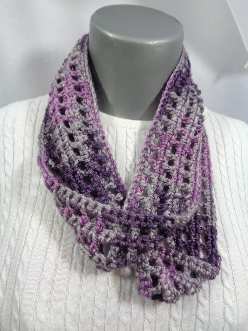 Purple Scarf Gray and Purple Crochet Infinity Scarf Gift for image 0