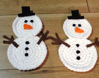 Snowman Trivets, Crochet Snowmen, Table Decor, Winter Decorations, Christmas Decorations MADE TO ORDER