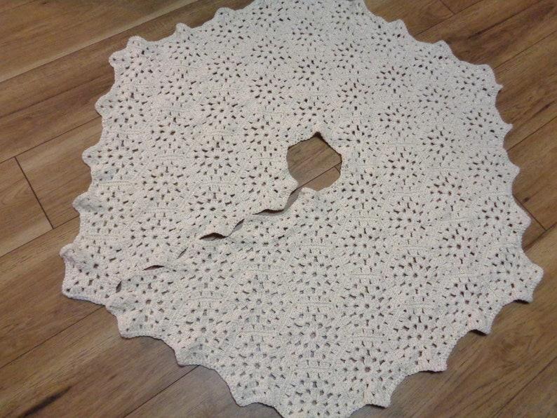 All Cream with Gold Thread Christmas Tree Skirt Crochet Granny image 0