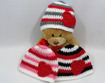 Valentines Day Baby Hat, Red, Gray and White Cap, Pink or Black  MADE TO ORDER Red Heart, Valentines Day Photo Prop, Twins or Triplets