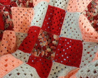 Crochet Granny Square Afghan, Red, Peach, and Tan Crocheted Blanket, Gift for Mom, Lap Afghan, Gift for Elderly, Home Decor, Wedding Gift