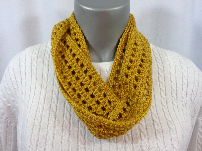 Honey Golden Yellow Scarf Crochet Infinity Scarf Gift for image 0