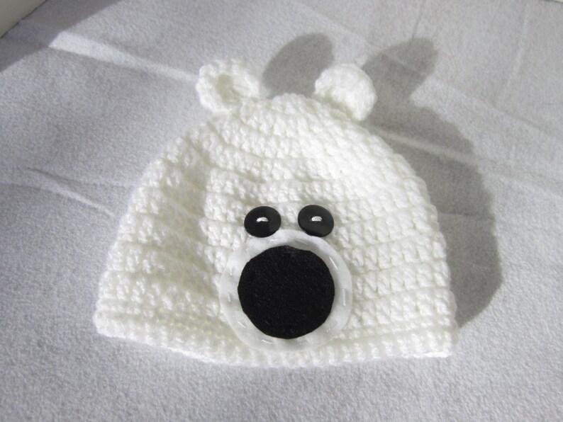 White Polar Bear Cap Polar Bear Baby Hat Bear Hat Crochet  02bc44b1c4e