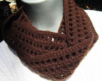 Brown Scarf, Thin Brown Sparkly Infinity Scarf, Lightweight Indoor or Outdoor Dark Brown Neckwear with Cooper Glitter