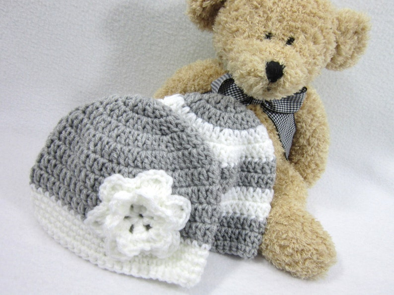 Gray and White Baby Hats Twins Crochet Infant Caps MADE TO image 0