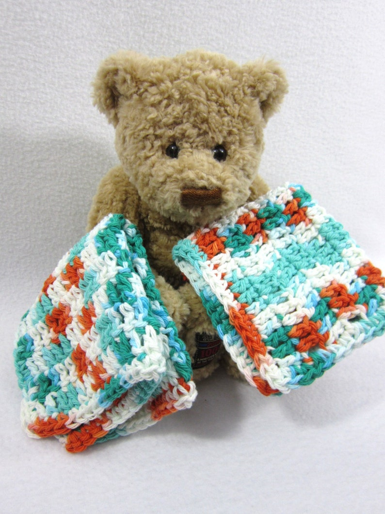 Cotton Dishcloths Aqua Orange and White Large Crochet Cotton image 0