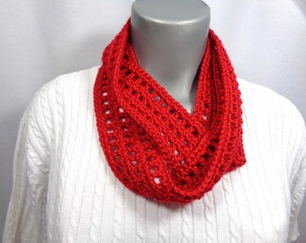 Red Scarf, Thin Infinity Scarf, Lightweight Indoor or Outdoor Perfect for Any Season with Soft Red Yarn, MADE TO ORDER, Valentine's Day