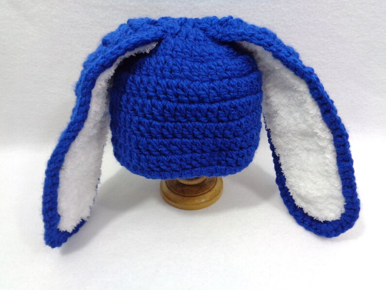 Bright Blue Bunny Baby Hat Made by Charlene Photo Prop image 0