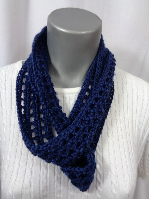 Navy Blue Scarf Thin Blue Infinity Scarf Lightweight Indoor Etsy