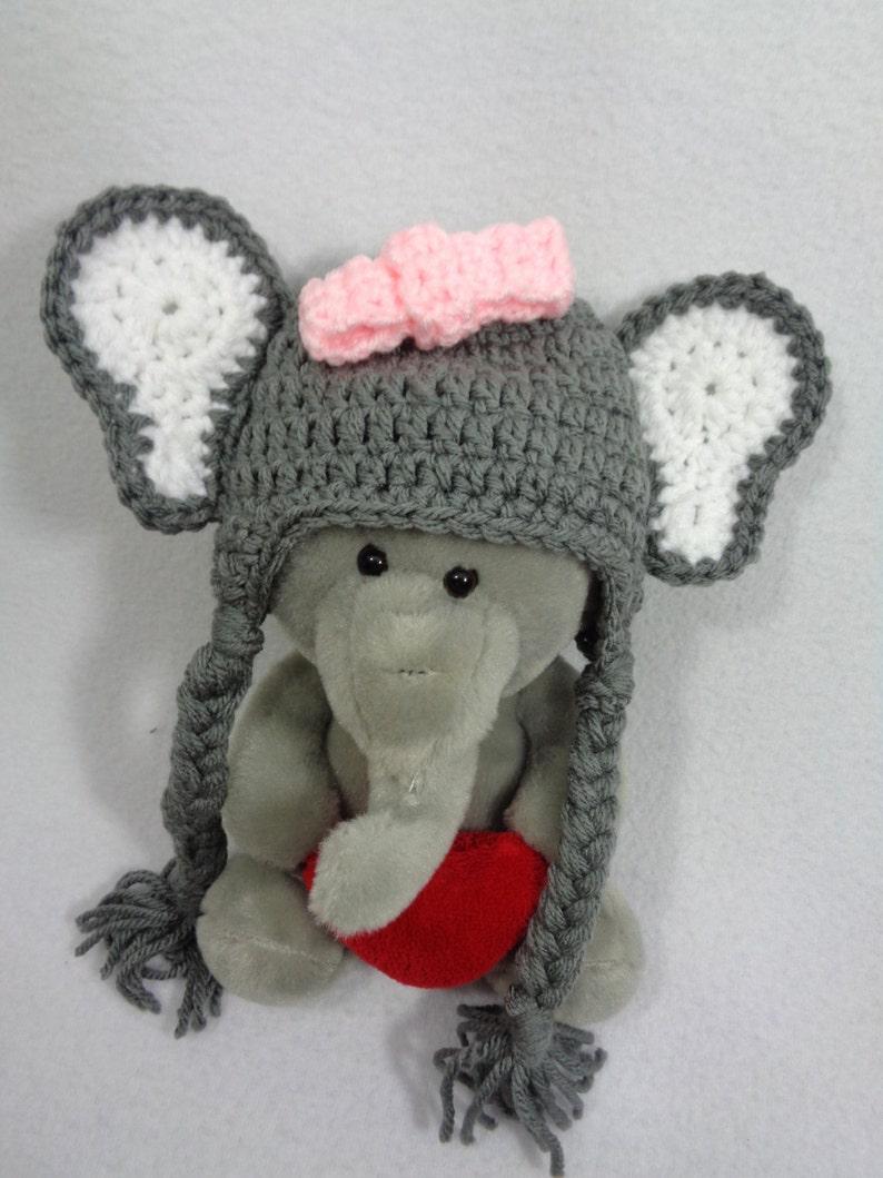 34fcd713859 Gray Elephant Beanie Cap Crochet Baby Jungle Animal Hat