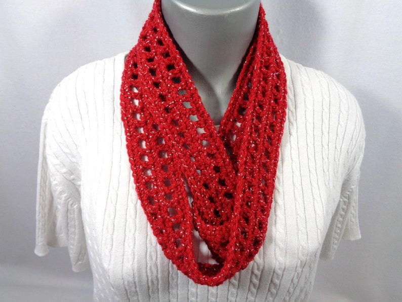 Red Scarf with Silver Thread Thin Infinity Scarf Lightweight image 0