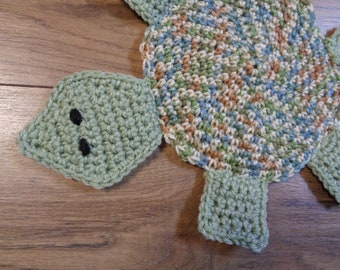Turtle Hot Pad, Tortoise Trivet for Kitchen, Tan, Blue and Green Hostess Gift. Turtle Collector Gift, Crocheted by Charlene, READY TO SHIP