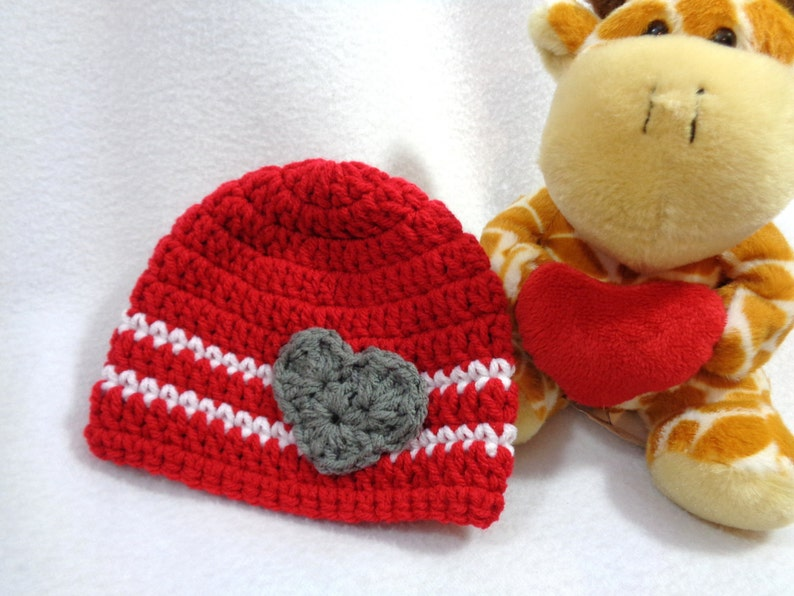 Valentines Day Baby Hat Crochet Red and White Cap MADE TO image 0