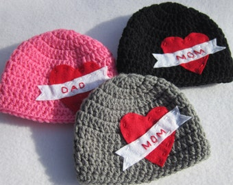 Mom Tattoo Hat, Valentines Day Baby Hat, Crochet MADE TO ORDER by Charlene, Choose Your Color, Valentines Day Photo Prop, Twins or Triplets