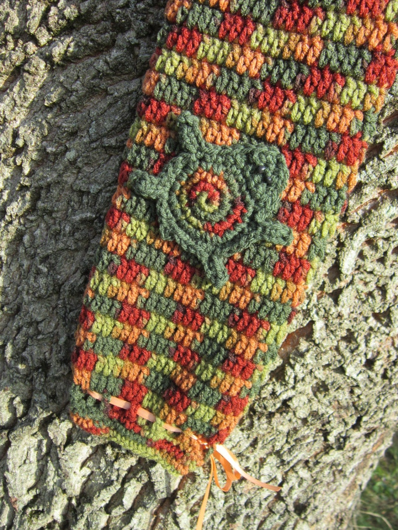 Crochet Turtle Plastic Bag Holder Greens Rusts and Browns image 0