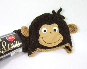Curious George Hat, Brown Monkey Hat, Crochet Baby Beanie with Ears and Face MADE TO ORDER by Charlene, Brown Earflap Hat, Gift for Baby